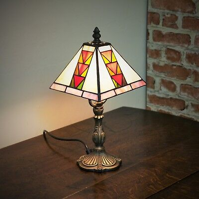 """New Small Square 6.5"""" Tiffany Stained Glass Bedside Table Lamp Mosaic Hand Made"""