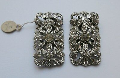 BN Vintage 1930s Pair of Silver Metal Deco Dress Clips w/ Clear Stones Deadstock