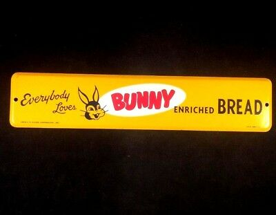 Vintage BUNNY BREAD METAL ADVERTISING SIGN Rare Old Door Push Pull NOS 1950s