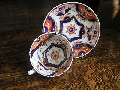 19th Century fine Gaudy Welsh Hexagon Cup and Saucer