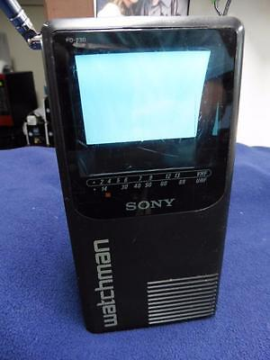 Sony Watchman Fd-230 Flat Black And White Tv Portable Vintage 1989 Check It Out!