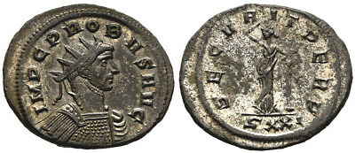 FORVM Choice VF Probus Silvered Antoninianus Securitas Relaxed Leans on Column