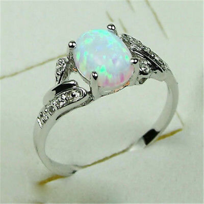 925 Silver Ring 2.4Ct White Fire Opal Women Jewelry Wedding Engagement Size 6-10