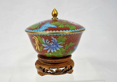 Vintage Chinese Cloisonne Tea Cup & Lid on Wooden Stand