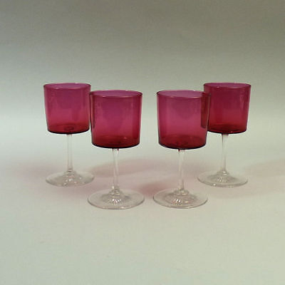 A Set Of 4 Victorian Cranberry & Clear Glass Small Wine Glasse C.1890