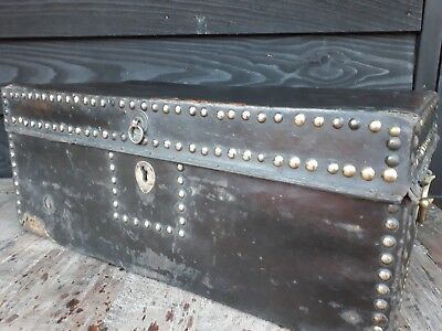 Early Leather Covered Casket Camphor Wood Travelling Luggage Liverpool