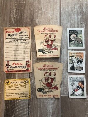Vintage Peters Weatherbird Diamond Shoes Advertising Cups Books Paper