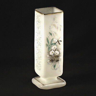 "Antique Bristol Glass Vase – Hand Painted Square Vase c1900 - 10 ⅞"" Tall"