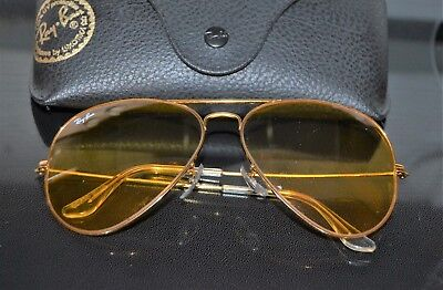 2ca59dfb2a0a2 VINTAGE RAY-BAN B L Aviator Yellow Lens Shooting Glasses 62  14 ...