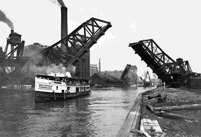 "1900-1910 12th St. Bascule Bridge, Chicago Vintage Photograph 13"" x 19"" Reprint"
