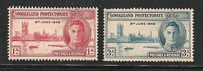 SOMALILAND stamp Scott# 108-109 Mint NH KGVI Peace Issue 1946 Great Britain