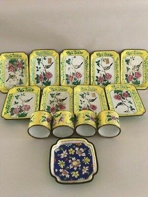 Lot of 9 +4 Vintage Chinese Cloisonne and Enamel Small Plate/Ashtrays & Nappkin