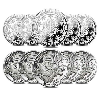 Lot of 10 - 1 oz Santa & His Reindeer Silver Christmas Round .999 Silver