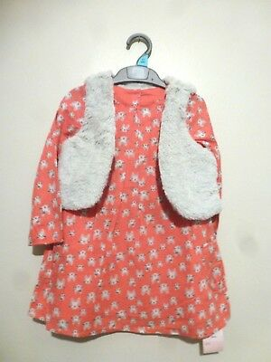 Mothercare Girls Retro Chic Cat Print Dress + Gilet 2-3 Years BNWT £21.95 Pink