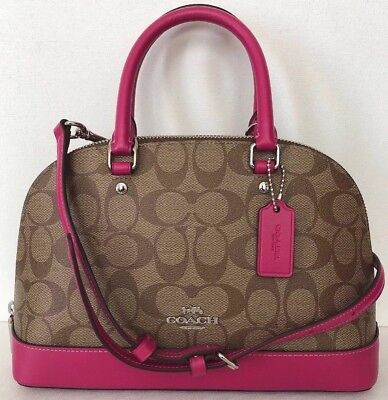 340260d83eed1 New Coach 27583 mini Sierra Satchel handbag Signature PVC Khaki   Cerise