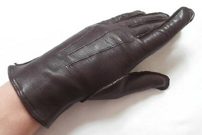 BN Vintage 1960's Soft Dark Brown Leather Wrist Gloves Silk Lined Sz 6 1/2-7 S-M