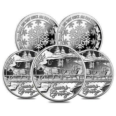 Lot of 5 - 1 oz Horse & Sleigh Silver Christmas Round .999 Silver