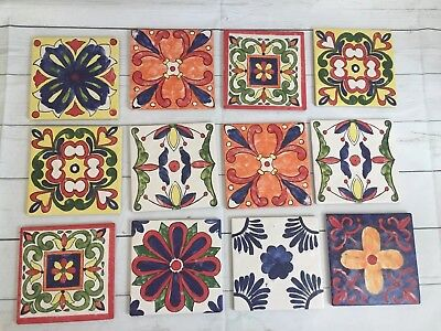 "Mexican Talavera Tiles Hand Made Hand Painted 6 ""X 6"" Assorted - 12 Pieces"