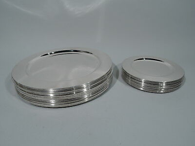 Modern Plates - 24 Dinner Chargers and Bread & Butter - Mexican Sterling Silver
