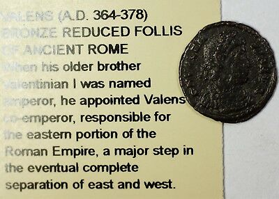 Valens 364-378 AD CE Ancient Bronze Reduced Follis Coin of Rome Littleton