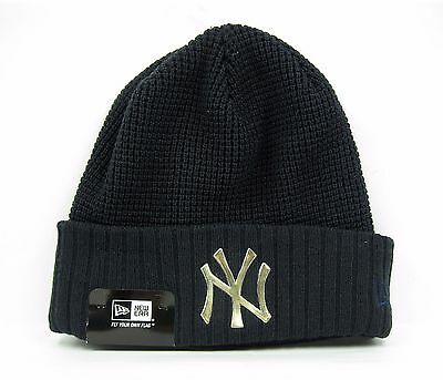 New Era Men's MLB New York Yankees Team Waffle Navy & Gold Winter Knit Hat
