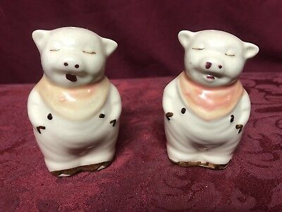 "Vintage Antique Shawnee Smiley 3"" Glass Salt & Pepper Shakers Pigs Pink Scarfs"