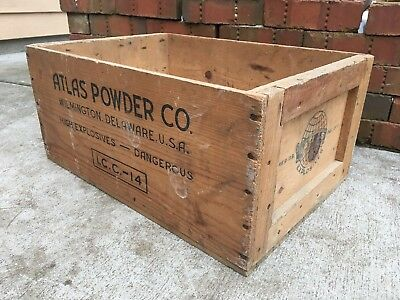 Vintage Wooden Explosive Crate Atlas Powder Delaware Dangerous Dynamite Wood Box