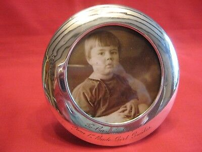 1919 Solid Silver & Oak Back Round Photo Frame.bude,cornwall Girl Guide Interest