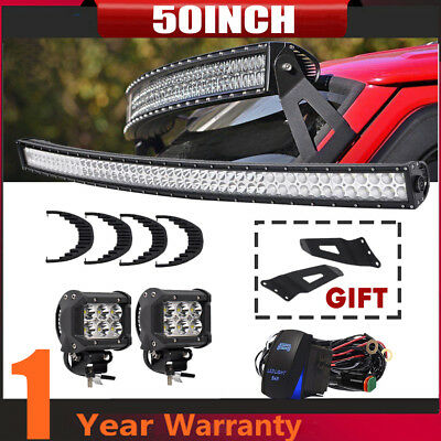 """50Inch Curved LED Light Bar + 3"""" CREE Pods Offroad For SUV ATV Ford Jeep 52"""""""