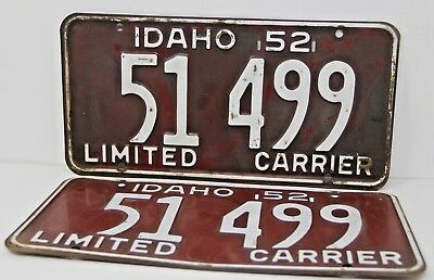 1952 IDAHO License Plate Collectible Antique Vintage Matching Set Pair 51-499