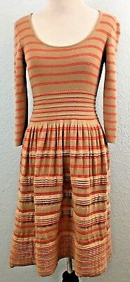 50318f6ea4f Knitted   Knotted Elodie Sweater Dress Wool Blend Brown Orange Striped Size  XS