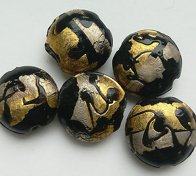 5 Lampwork Beads, Black/Silver/Gold. 20mm.  Jewellery Making/Bead Crafts