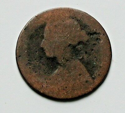 187? UK (British) Victoria Coin - Half Penny 1/2d - unknown date - worn smooth