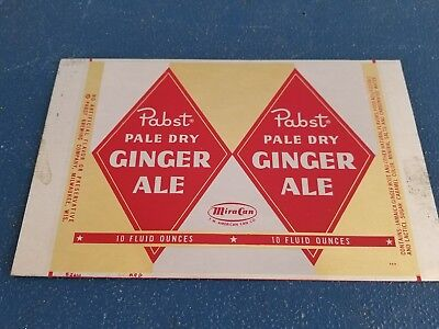 (VTG) 1950s PABST DIAMOND STYLE GINGER ALE SODA 10oz CAN UNROLLED SHEET MIRA CO