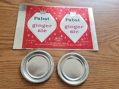 (VTG) 1950s PABST GINGER ALE SODA 10oz SODA CAN UNROLLED SHEET MIRA CO RED RARE