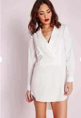 24e69862785 B 182  MISSGUIDED white wrap front striped shirt playsuit size UK10 ...