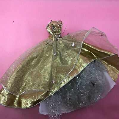 Barbie TNT DOLL CLOTHES 2000 Gold Lame Holiday Strapless Dress Gown BC615