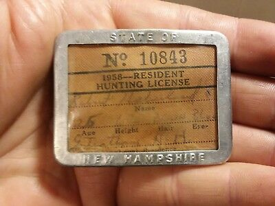 1958   Hunting License New Hampshire  W/ Aluminum Case
