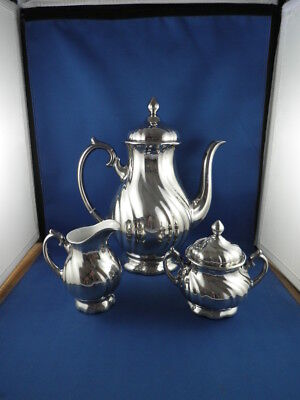 Wmf Germany 3 Piece Coffee Set Silver Metal Over White Porcelain