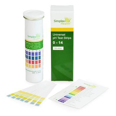 Simplex Health Water Ph Test Strips 0-14 Wide Range & Four Pad Universal For -