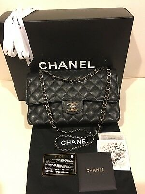 """800c6caf99 Authentic Chanel Classic 10"""" Medium Double Flap Caviar Leather Bag Silver"""