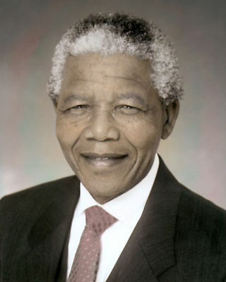 """NELSON MANDELA SOUTH AFRICAN PRESIDENT 8x10"""" HAND COLOR TINTED PHOTOGRAPH"""