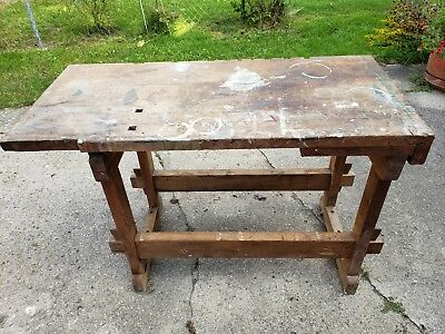 Small Antique Hard Maple Woodworking Bench