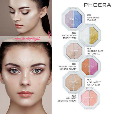 Hot PHOERA Two-tone Highlighter Make Up Shimmer Cream Face Highlight Eyeshadow