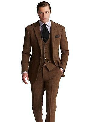 Men Groom Suit Brown Plaid Business Professional Business Suit 3 Pieces Custom