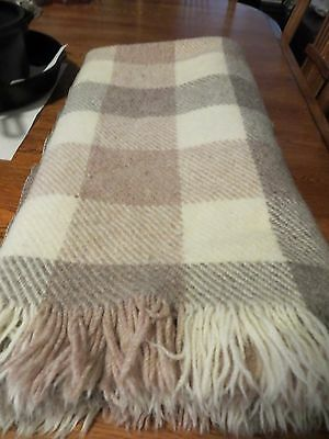 Pendleton 100% Virgin Wool Plaid Blanket in Cream and Tan Colors