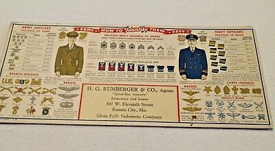 VTG INK BLOTTER, ARMY NAVY Insignia, 1942 WWII, Rumberger Ins. KC, MO, FREE SHIP