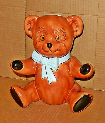 Large Ceramic Brown 10 1/2 Inch Teddy Bear Bank With Blue Bow