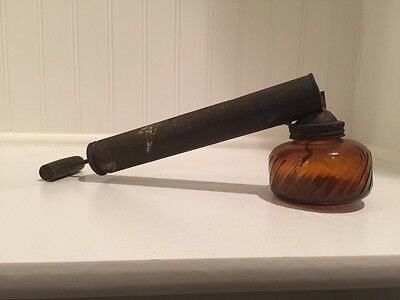 Vintage Chapin Pump Plant Bug Sprayer-Duster-Amber Glass Jar-Wooden Handle WORKS