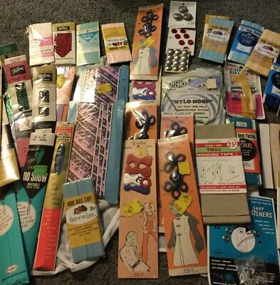 Vtg Sewing Trim Lot Bias Tape + Zippers  + Buttons  + Lace Seam Binding Etc